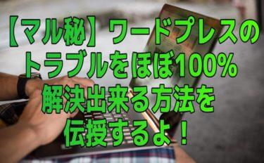 【マル秘】ワードプレスのトラブルをほぼ100%解決できる方法を伝授するよ!